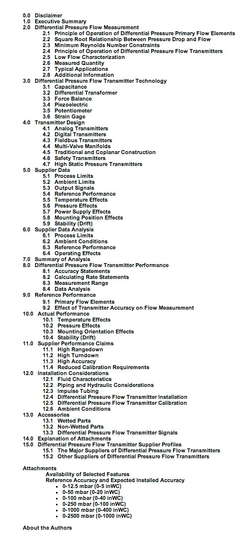 Differentaial Pressure table of contents