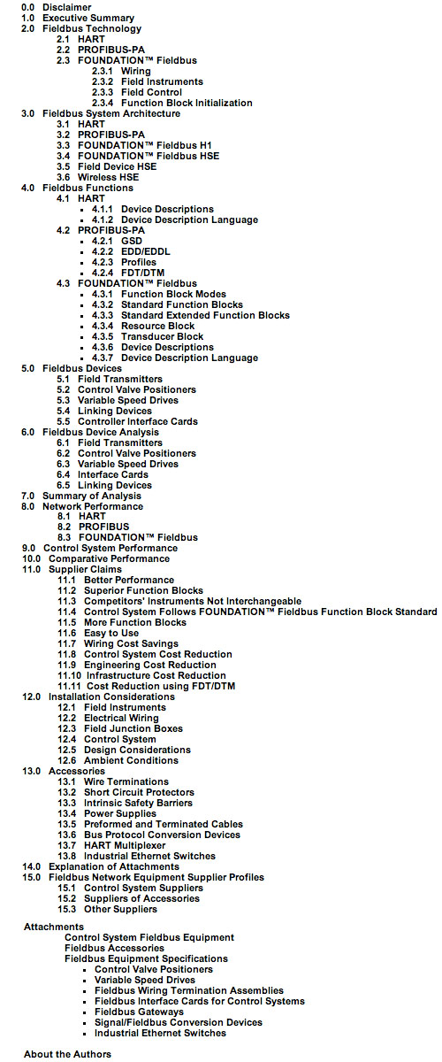 Fieldbus table of contents