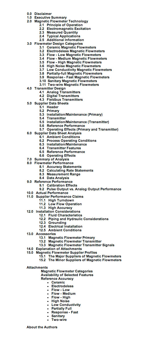 Magnetic Flowmeters table of contents
