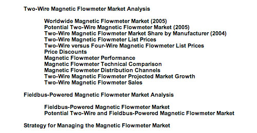 Marketing report for two-wire and fieldbus table of contents