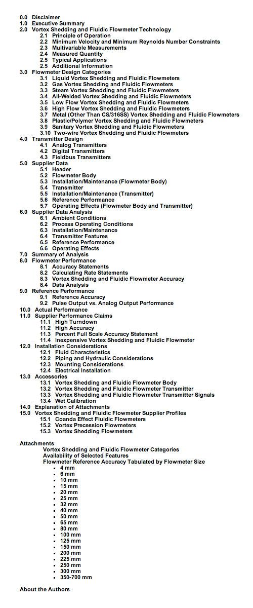 Vortex shedding table of contents